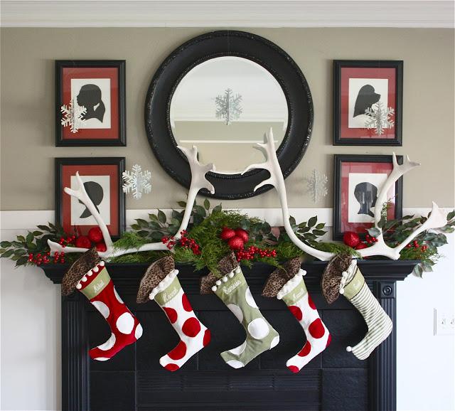Christmas deer mantel
