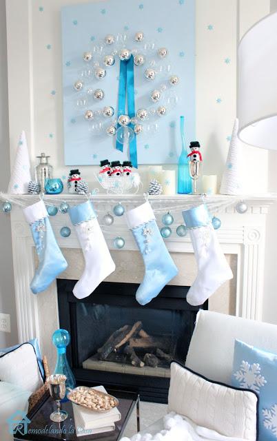 snowman holiday mantel