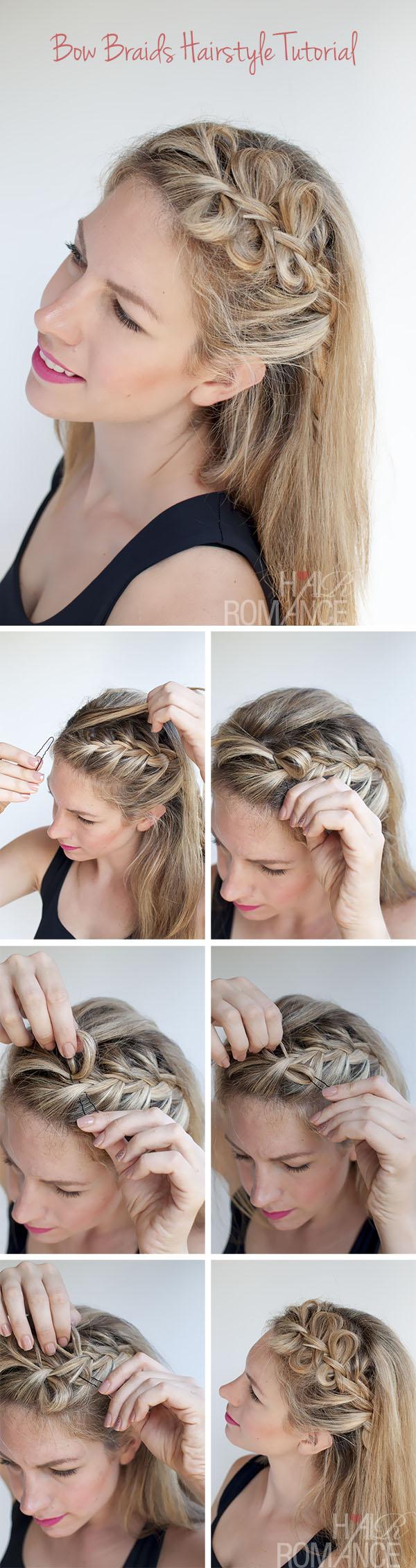 hair bow braids hairstyle tutorial