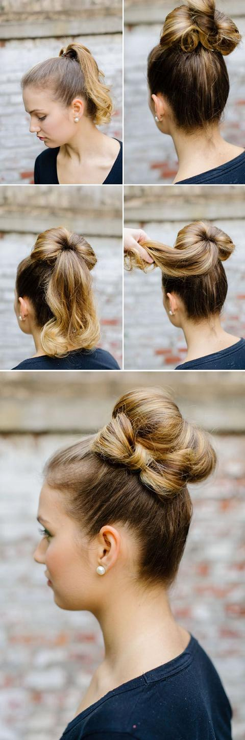 hair tutorial bun and bow