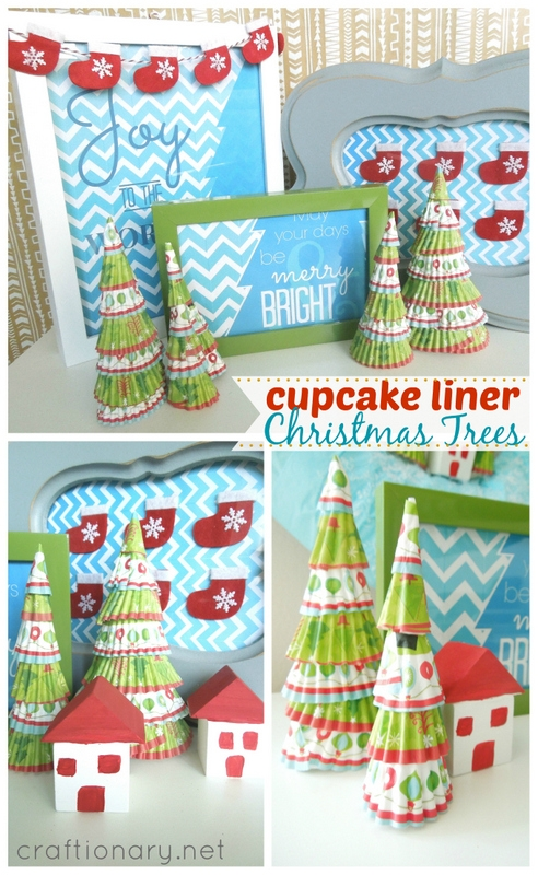 make cute cupcake liner Christmas trees