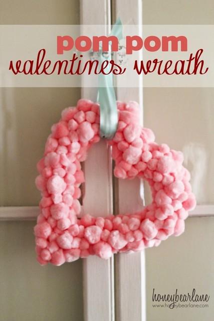 pom pom heart valentines day wreaths