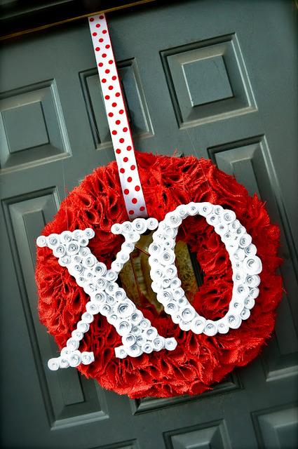 rosettes xo wreath
