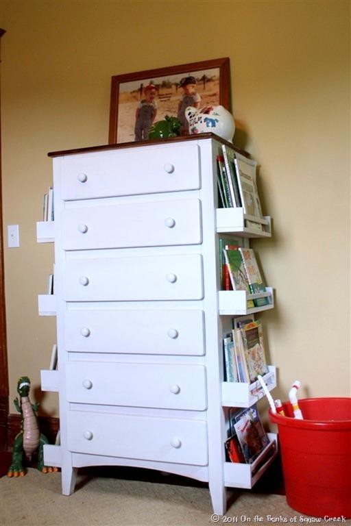 books storage shelves on dresser