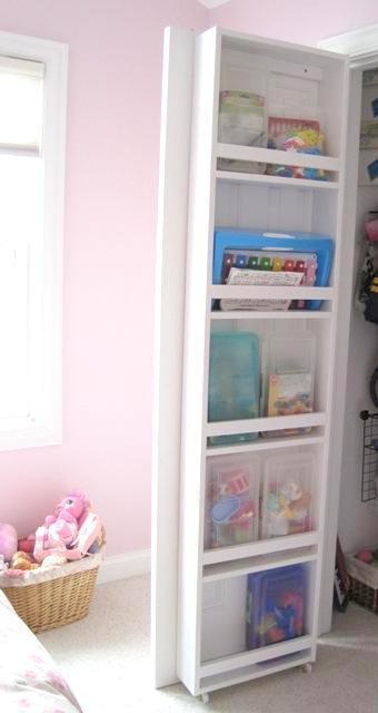 built-in closet door bookcase