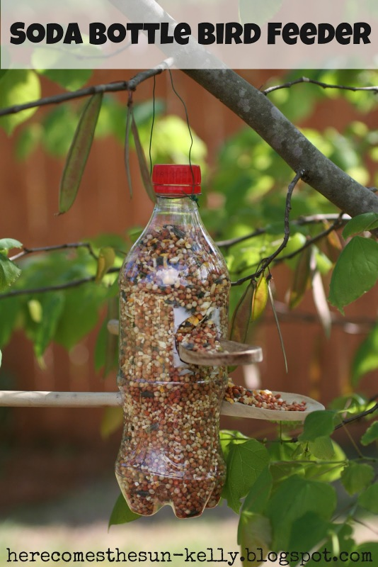 plastic spoons bird feeder