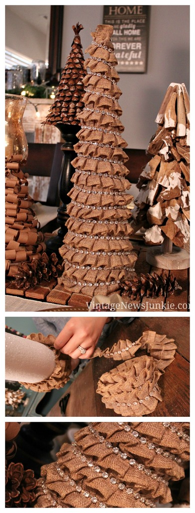 Ruffled burlap Christmas tree - craftionary.net
