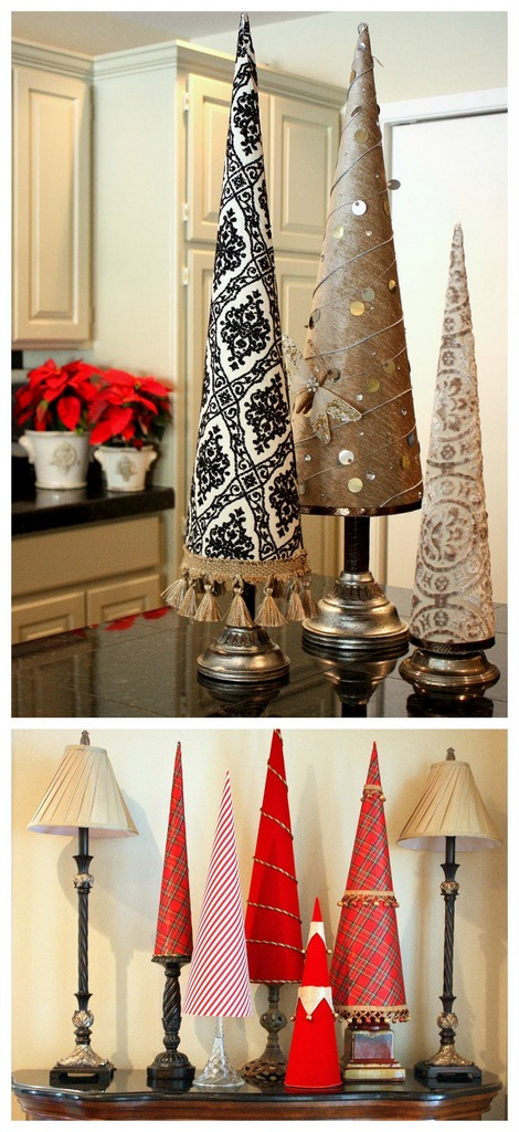 Fabric cone Christmas trees - craftionary.net
