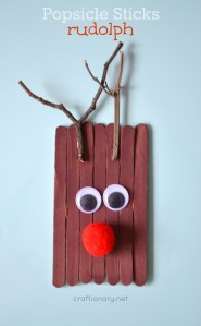 Popsicle sticks Rudolph - the reindeer at craftionary.net