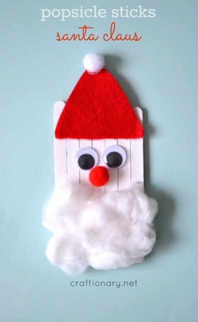 Santa Crafts Kids Can Make - Popsicle sticks Santa #Christmas at craftionary.net