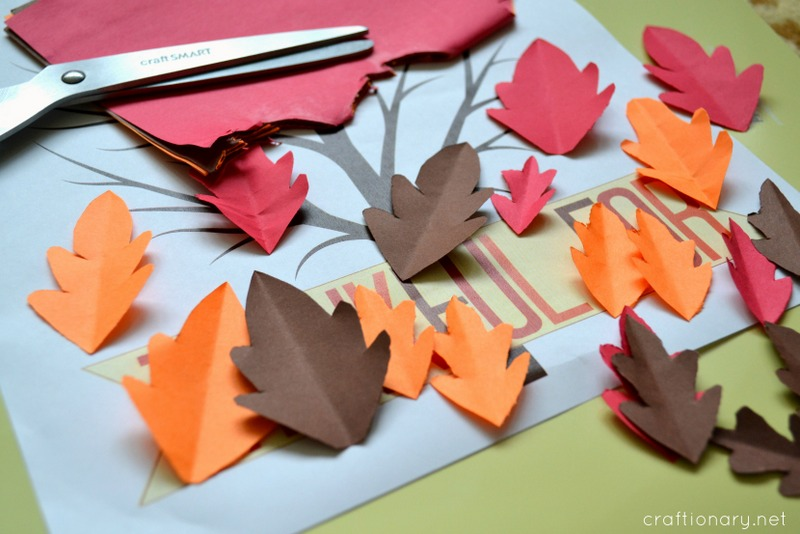 thanksgiving tree paper leaves