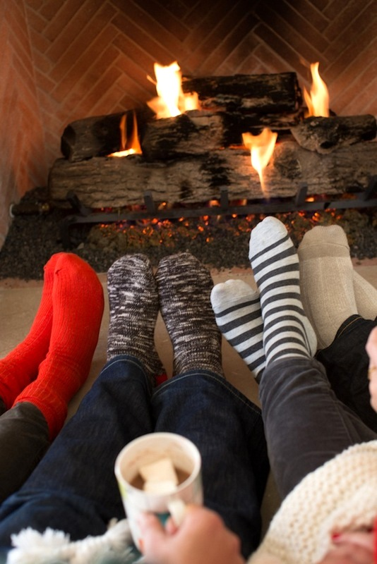 Cozy family near fireplace - Snow photo ideas