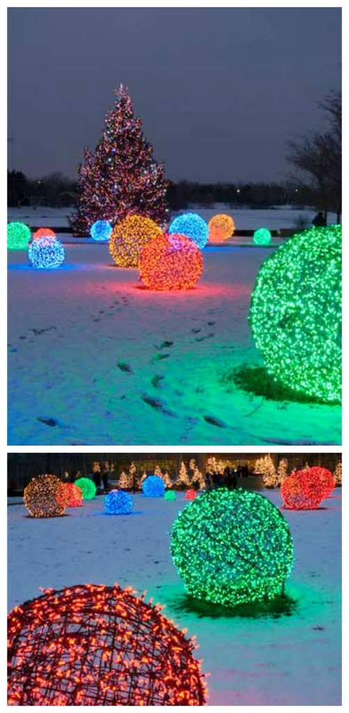 DIY Christmas light balls for outdoor decorating