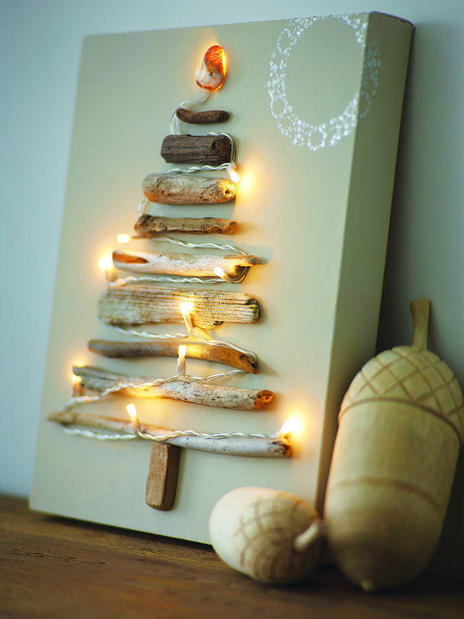 Driftwood lighted tree on canvas