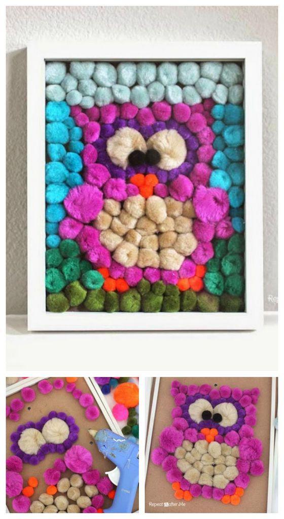 DIY pom owl art