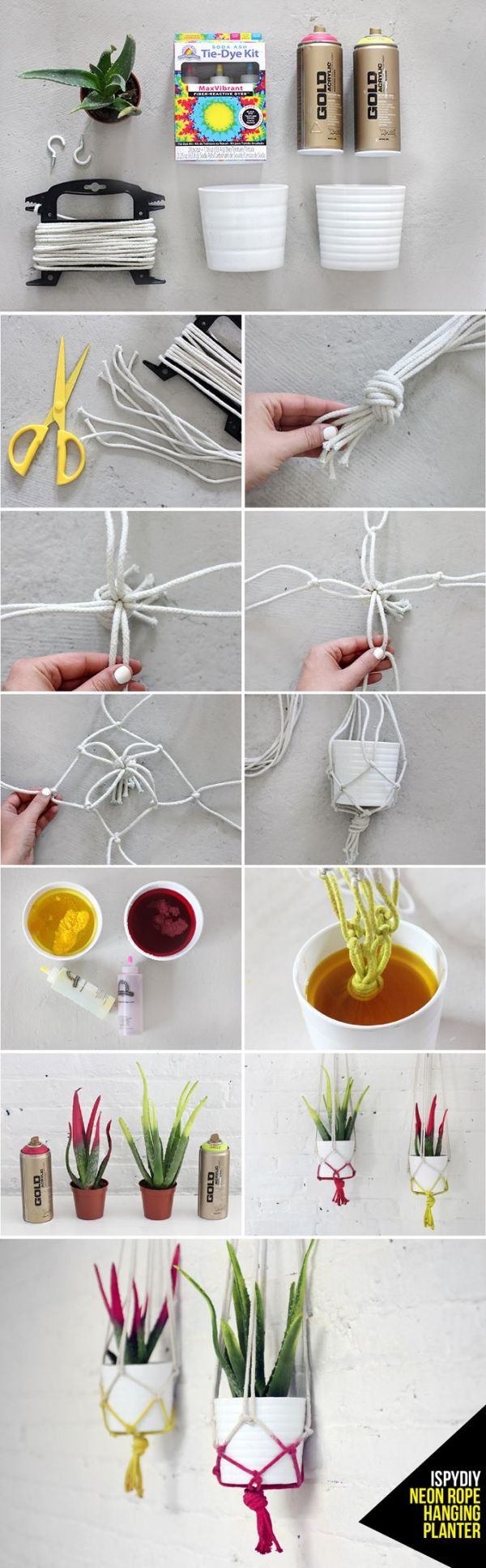 DIY rope hanging planter
