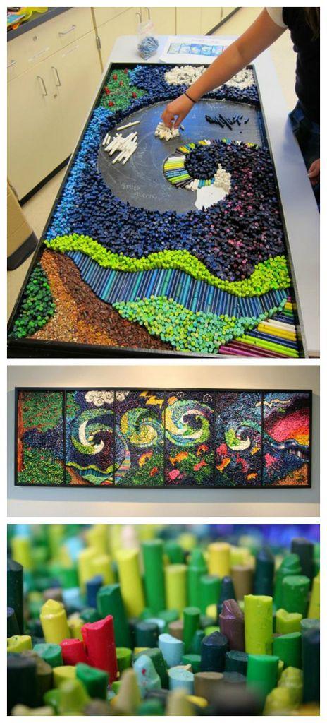 Crayon-mosaic-art-project