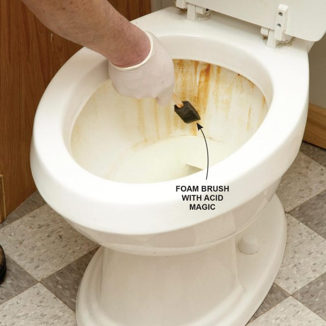 remove tough rust stains from the toilet