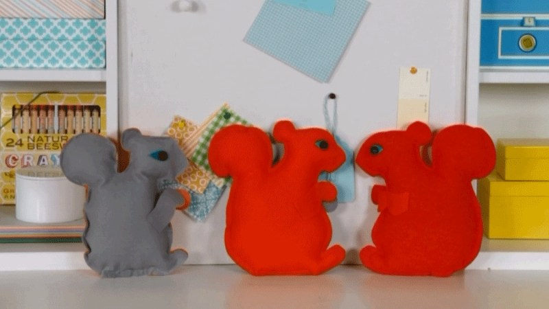 Stuffed felt squirrel craft