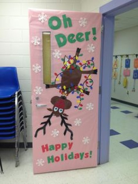 Upside Down Rein Deer Christmas Door