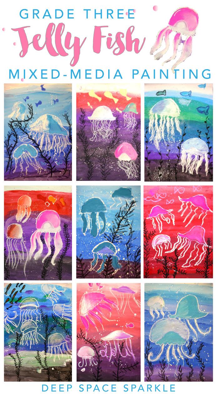 mixed media jelly fish craft