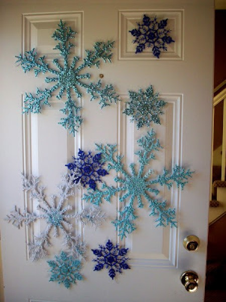 snow flakes christmas door
