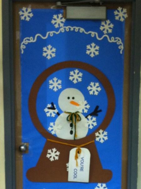 snowman globe chistmas door