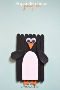 Popsicle sticks penguin craft