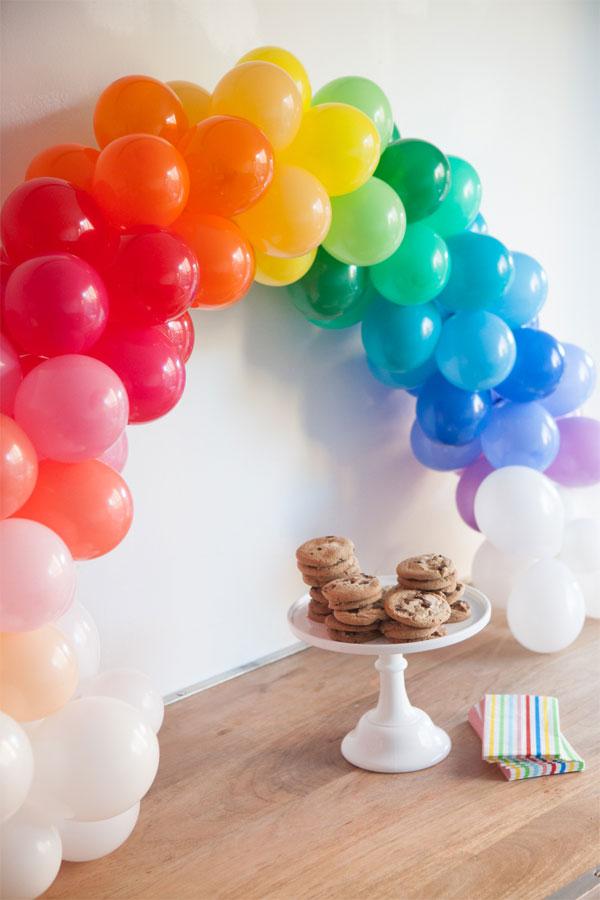rainbow balloons arch