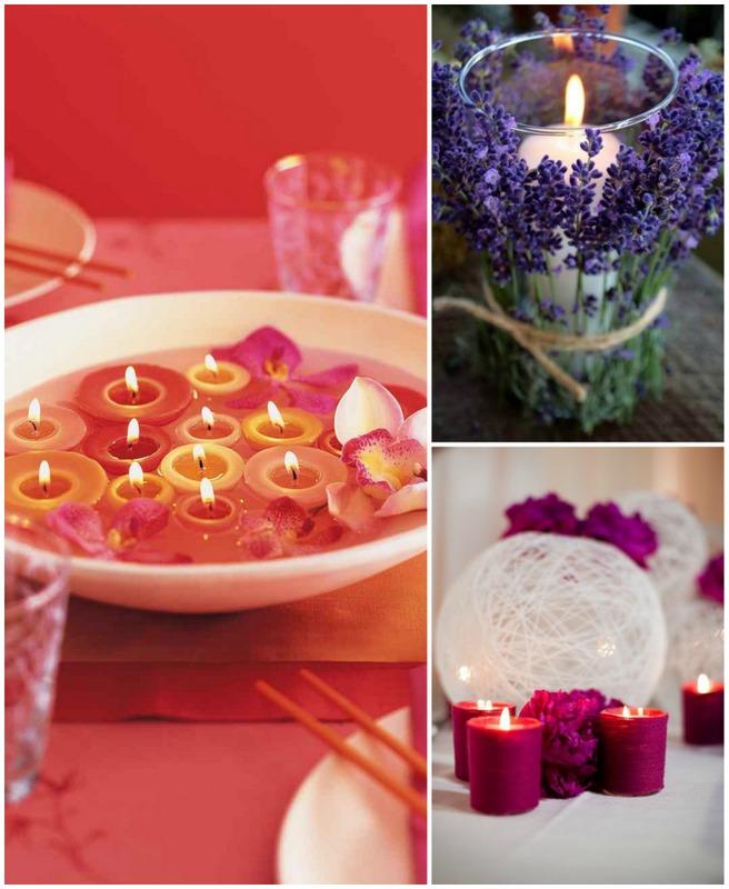 Valentines day candles centerpiece