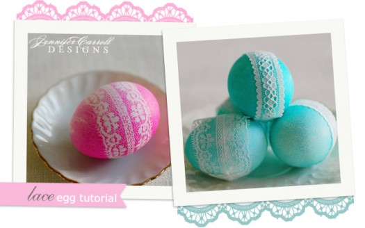 lace design dyed eggs