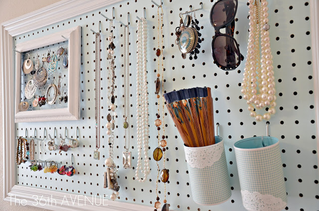 Peg board organizer DIY