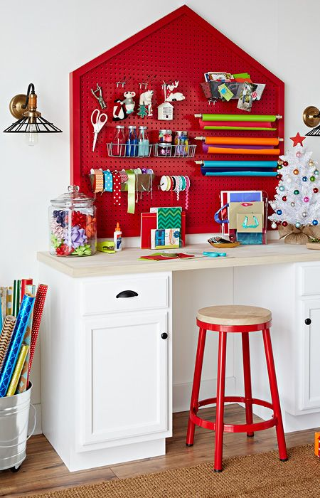 pegboard gift wrapping station