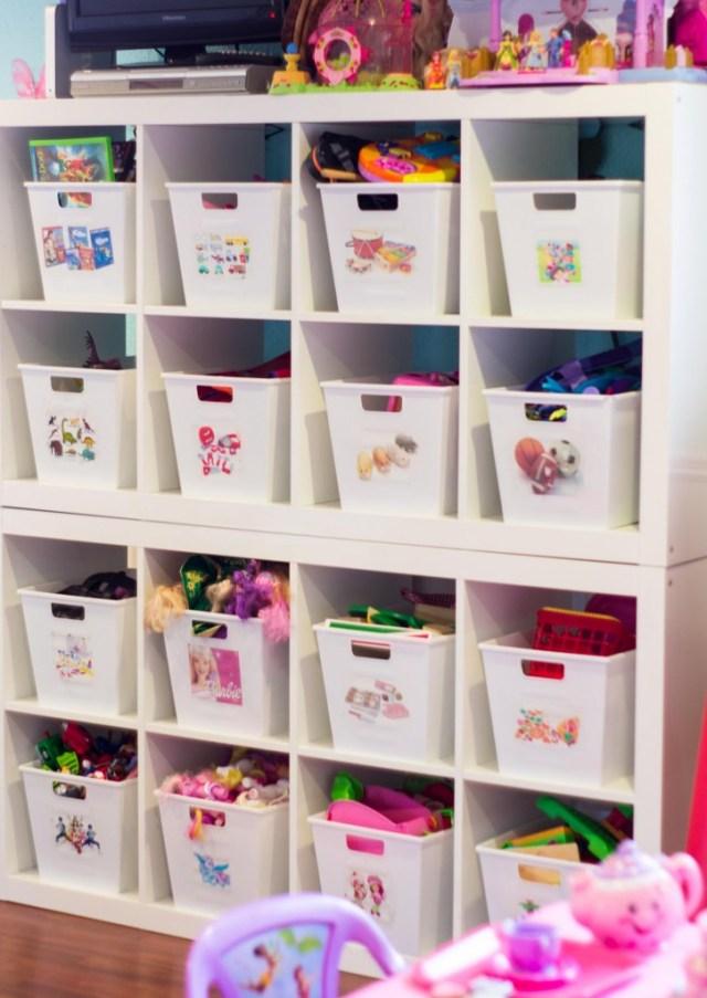 kids-room-organizing-bookcases-plastic-bins-dollarama
