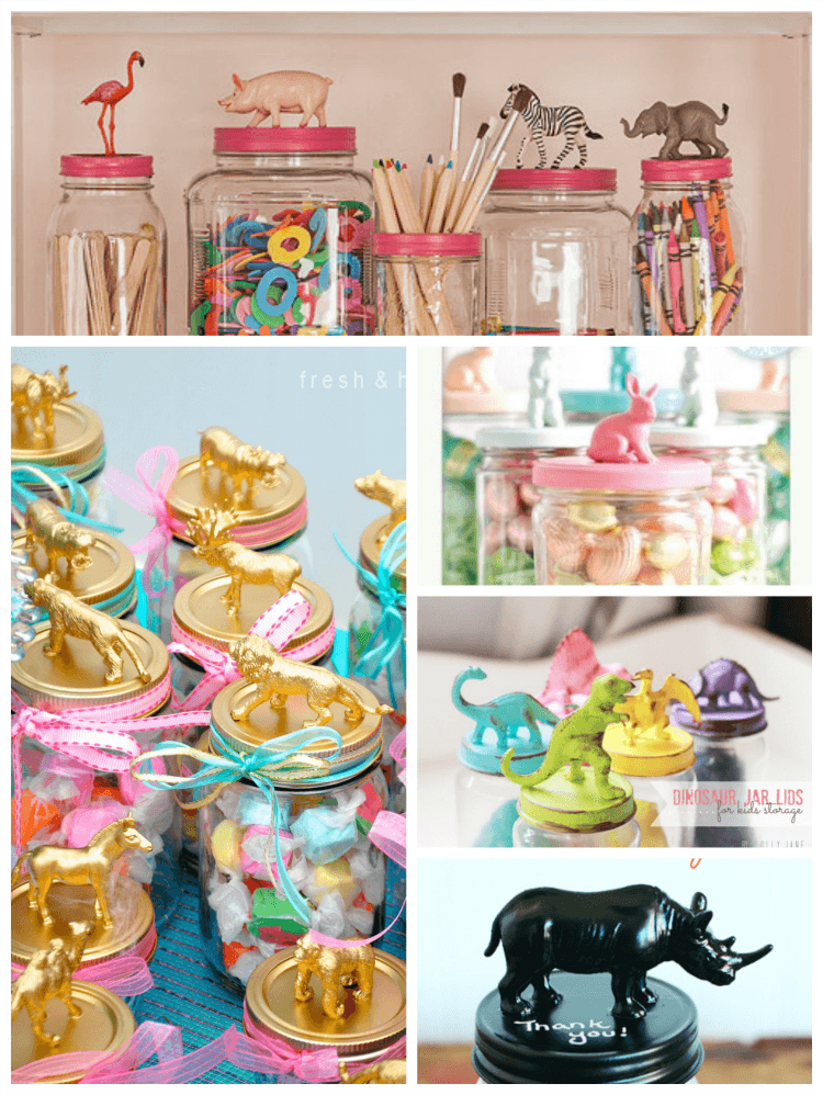 DIY mason jars with plastic animals make great gifts and party favours