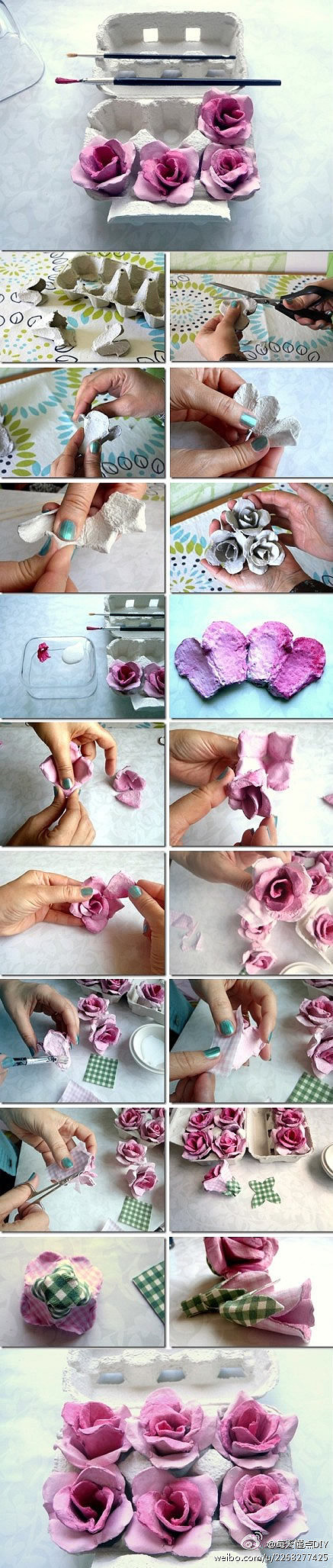 egg carton flowers making