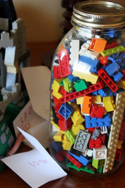 lego filled gift jars