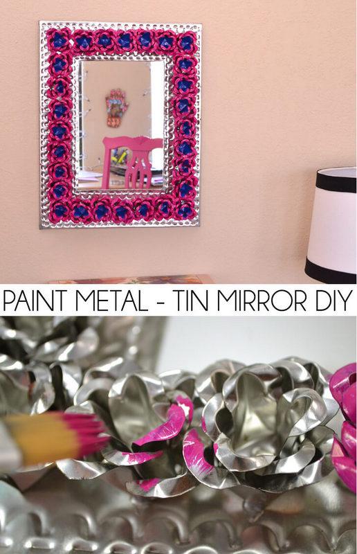 Paint metal tin mirror diy