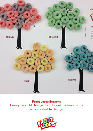 Cereal seasons activity with free printable trees