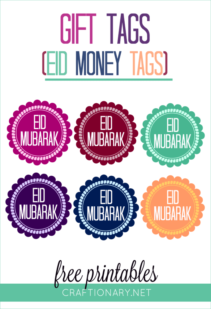 Eid money tags free printable are available in six cool and vibrant colors and are perfect for Eid gifts and Eid envelopes