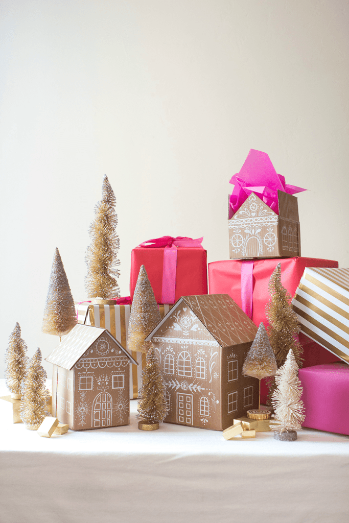 Gingerbread house gift box tutorial for Holidays