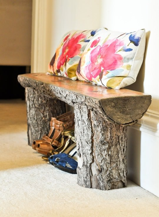 Salvaged-tree-branch-bench-home