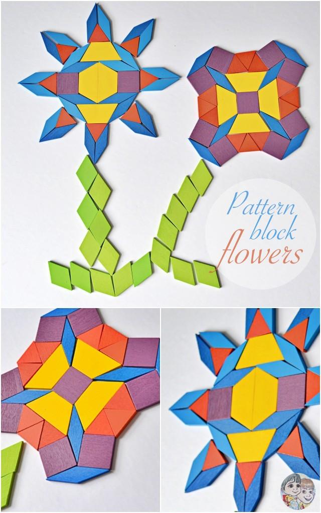 Flower patterns using pattern blocks