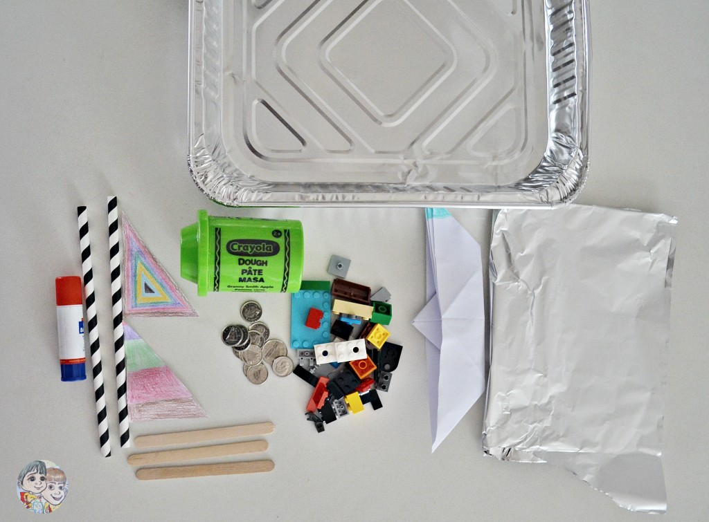 material-float-boat-foil-tray-paper-lego-coins