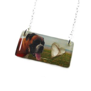Photo memorial necklace with hair or ash filled heart
