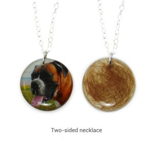 Custom memorial necklace with photo and your pet's hair or ashes