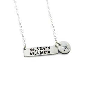 Coordinate bar necklace with compass charm on a sterling silver chain