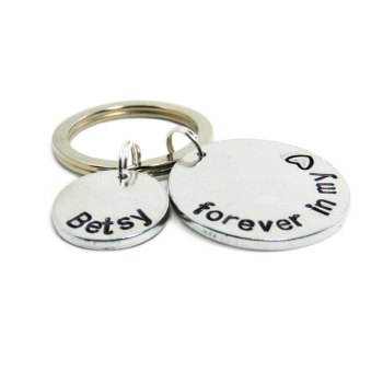 Forever in my heart keychain with custom name charm