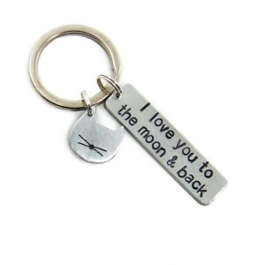 I love you to the moon and back keychain with cat charm