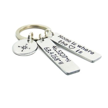 Home is where the heart is keychain with custom coordinate charm and compass charm